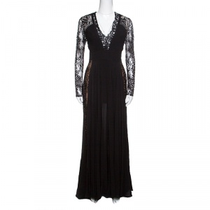 Elie Saab Black Lace Paneled Plunge Neck Long Sleeve Gown M