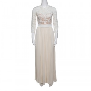 Elie Saab Cream Floral Embroidered Lace Silk Chiffon Gown S