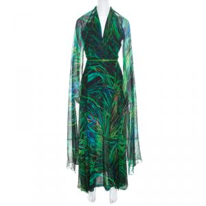 Elie Saab Green Palm Printed Silk Overlap Neckline Detail Cape Style Maxi Dress XS