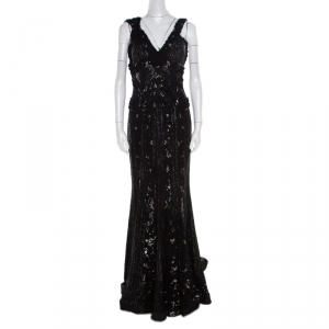 Elie Saab Black Embellished Silk Petal Applique Detail Sleeveless Gown L