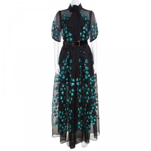 Elie Saab Black and Blue Lurex Heart Patterned Skirt and Blouse Set S