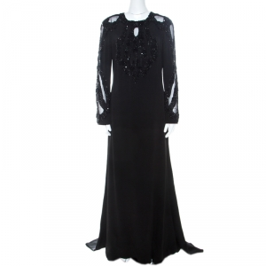 Elie Saab Black Embellished Silk Blend Evening Gown M