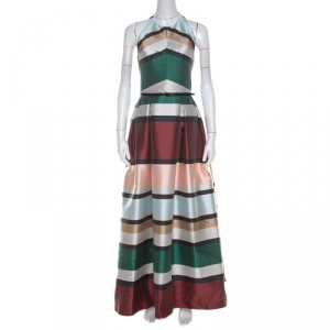 Elie Saab Multicolor Candy Striped Halter Neck Ball Gown S - used
