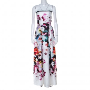 Elie Saab White Floral Printed Silk Satin Strapless Evening Gown S - used