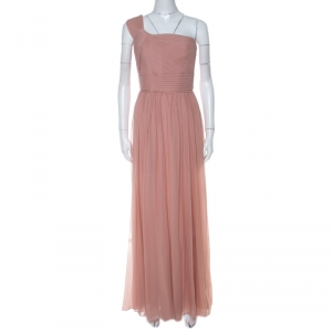 Elie Saab Dusty Pink Silk Chiffon Pleated Bodice One Shoulder Gown S - used