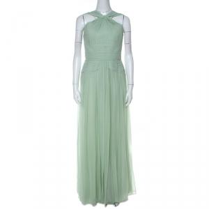 Elie Saab Mint Green Silk Georgette Pleated Dress S - used