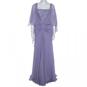 Elie Saab Lilac Silk Cape Sleeve Gathered Detail Evening Gown S used
