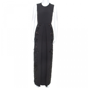 Elie Saab Black Crepe Tulle Embellished Sleeveless Maxi Gown S used