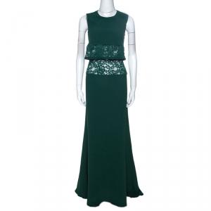 Elie Saab Green Crepe Lace Insert Sleeveless Maxi Dress XS - used