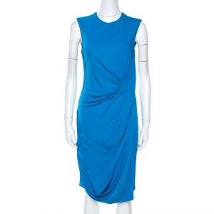 Elie Saab Blue Jersey Sleeveless Draped Dress S