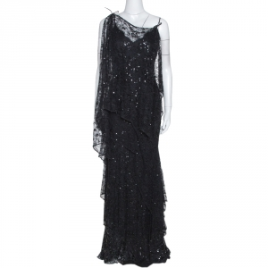 Elie Saab Vintage Black Lace Sequin Embellished Layered Gown S