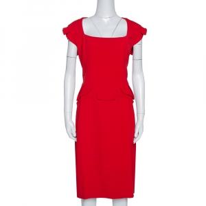 Elie Saab Red Stretch Crepe Midi Dress M - used