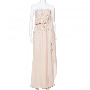 Elie Saab Cream Silk Embellished Draped Strapless Dress S