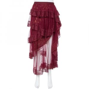 Elie Saab Burgundy Plumetis Tulle Tiered & Ruffled Skirt S - used