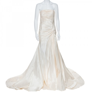 Elie Saab Cream Silk Strapless Wedding Gown M