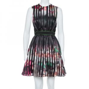 Elie Saab Multicolor Printed Silk Panelled Sleeveless Flared Dress S - used