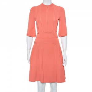 Elie Saab Salmon Pink Knit Scalloped Flared Midi Dress S