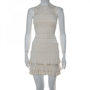 Elie Saab Cream Knit Lace Trim Detail Fit & Flare Dress S - used
