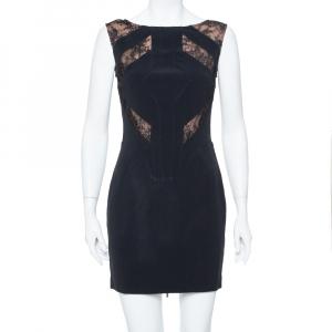 Elie Saab Black Crepe Lace Detail Sheath Dress S - used