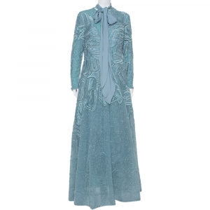 Elie Saab Blue Sequin Embellished Tulle Neck Tie Detail Evening Gown L - used