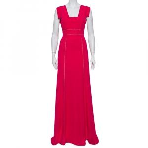 Elie Saab Pink Crepe Lace Trim Detail Paneled Gown S - used