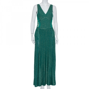 Elie Saab Green Lurex Knit Lace Trim Detail Paneled Maxi Dress M