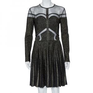 Elie Saab Black Lurex Knit & Tulle Paneled Flared Mini Dress M - used