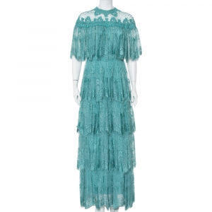 Elie Saab Turquoise Blue Embroidered Lace Overlay Detail Tiered Maxi Dress M - used