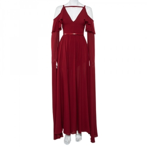 Elie Saab Burgundy Silk Cape Sleeve Detail Cold Shoulder Belted Ruffled Gown XS - used