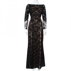 Elie Saab Black Lace Paneled Gown M - used