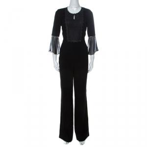 Elie Tahari Black Crepe Chain Bead Embellished Bell Sleeve Jumpsuit M