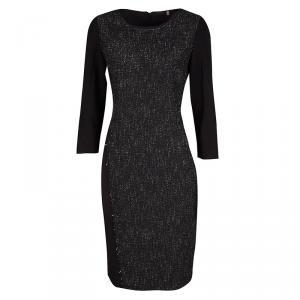 Elie Tahari Black Contrast Front Panel Detail Long Sleeve Dress M - used