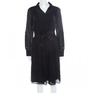 Elie Tahari Black Wool Pleated Belted Dress M - used