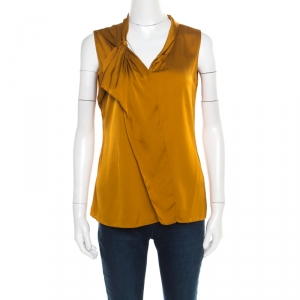 Elie Tahari Mustard Satin Knotted Shoulder Detail Sleeveless Top M