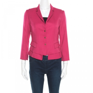 Elie Tahari Pink Textured Fitted Angular Blazer S