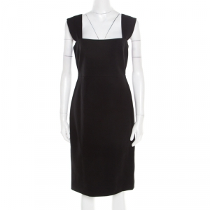 Elie Tahari Black Knit Satin Lined Sleeveless Fitted Sheath Dress S