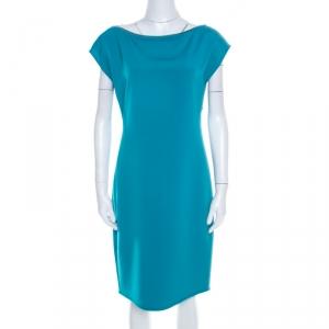 Elie Tahari Jade Green Knit Bateau Zipper Neck Detail Frayed Hem Shift Dress M - used