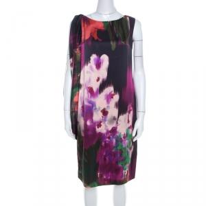 Elie Tahari Multicolor Floral Print Silk Draped Shift Dress M - used