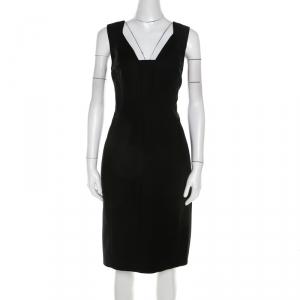 Elie Tahari Black Stretch Cotton Sleeveless Bodycon Sheath Dress L - used