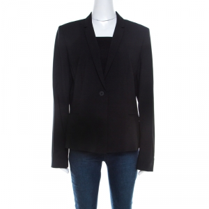 Elie Tahari Black Wool Single Button Alma Jacket XL