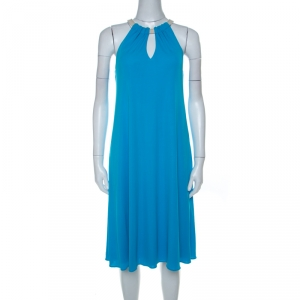 Elie Tahari Bright Blue Jersey Rope Neck Detail Dress S - used