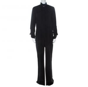 Elie Tahari Black Stretch Silk Zip Front Jumpsuit M - used