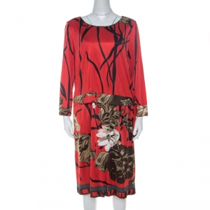 Elie Tahari Red Printed Jersey Layered Dress L used