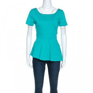Elie Tahari Teal Green Knit Stretch Peplum Top M