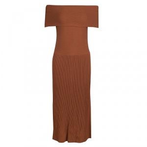 Elizabeth & James Brown Ribbed Knit Off Shoulder Marbella Dress S - used