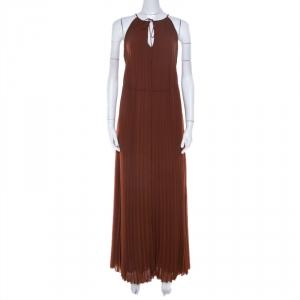 Elizabeth & James Cinnamon Brown Pleated Chiffon Cadence Maxi Dress S - used