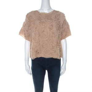 Elizabeth & James Beige Silk Floral Applique Milena Rosette Top M