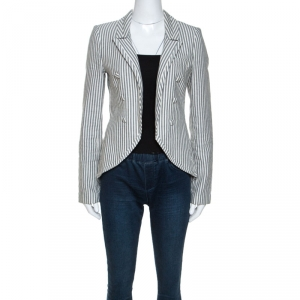 Elizabeth & James Monochrome Arrow Striped Linen and Cotton Blazer S