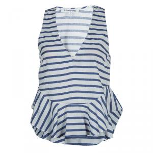 Elizabeth and James White and Blue Striped Peplum Top S - used