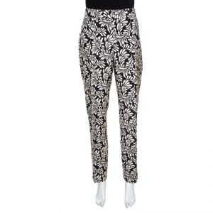 Emanuel Ungaro Monochrome Floral Print Tapered Trousers L
